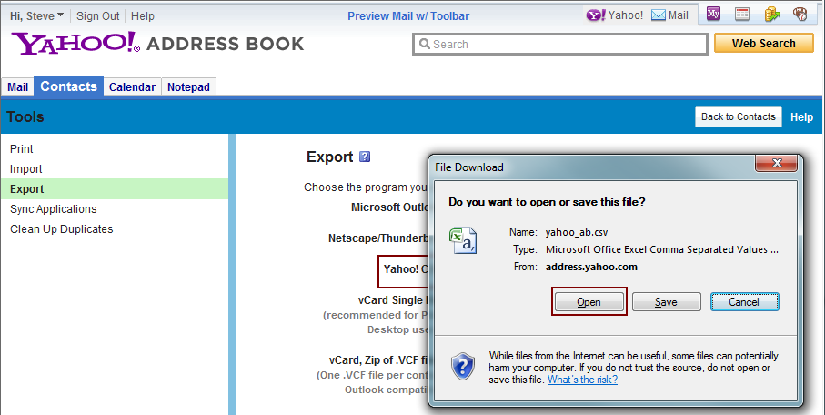 Export Facebook® Contacts to an Excel file for Import Into Cimmaron